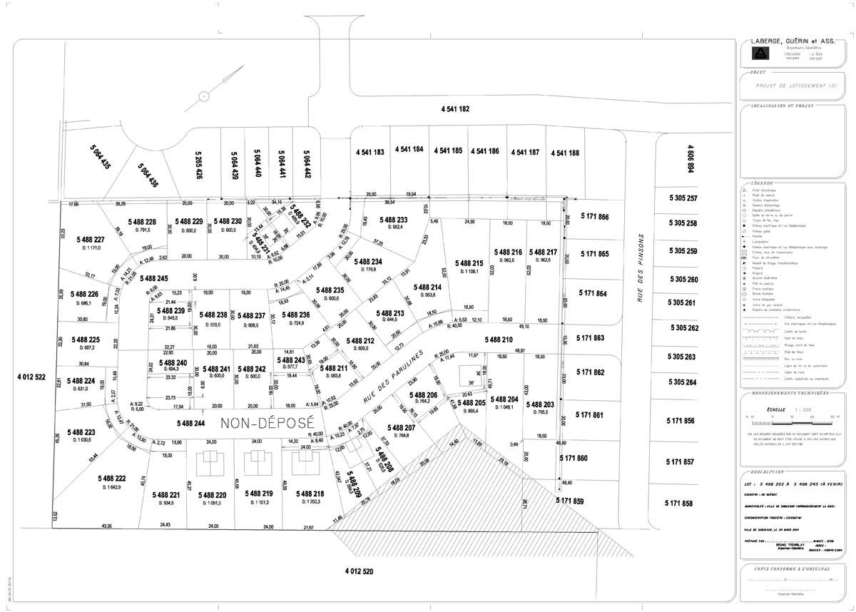 Plan des terrains à vendre à la Baie